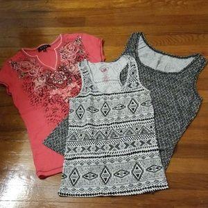 Tops - 3 variety Tank  sleeveless, short sleeve Shirts